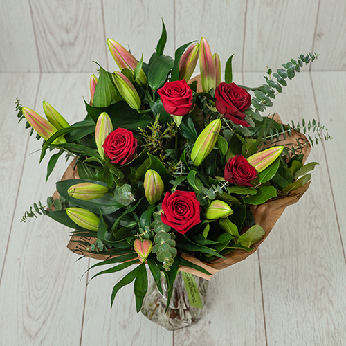 Oriental Lily and Red Rose Bouquet